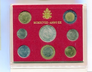 obverse: Vaticano. Folder Ufficiale del 1998 con 7 monete FDC (di cui una in argento). (Val. Cat.: 80€)