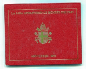 obverse: Vaticano. Folder Ufficiale del 2001 con 7 monete FDC (di cui una in argento). (Val. Cat.: 130)