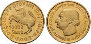 obverse: Germania. 10.000 Mark 1923. BU. SPl+. Migliore in mano.