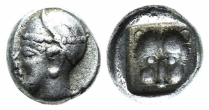 obverse: Caria, Uncertain, c. 500-450 BC. AR Hemiobol (6mm, 0.37g, 3h). Confronted foreparts of two bulls. R/ Forepart of bull l. SNG Keckman 912; SNG Kayhan 968-70. Rare, VF. (ex Bertolami 39E - lot 192. Stima: 90€.)