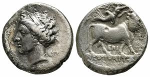obverse: Campania. Neapolis (275-250 a.C.). AR Nomos (20 mm. - 7,04 gr.). D.\: testa diademata di ninfea a sinistra, con orecchino a perle pendenti. TAP sotto, ΕΥΞ dietro. R.\: NEOΠOΛIT[ΩN], toro con testa umana che cammina a destra, in alto, Nike che vola a destra, posizionando la corona sulla testa del toro, sotto EΠI. Cf. SNG ANS 384; cf. HN Italy 586. qBB. R1.