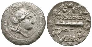 obverse: Macedonia, Amphipolis (167-149 a.C.). Sotto il protettorato romanoFirst Meris. AR Tetradramma (31mm. - 15,69gr.). D.\: busto diademato e drappeggiato di Artemis a destra, arco e faretra sopra la spalla, tutto nel tondo dello scudo macedone; R.\: ΜΑΚΕΔΟΝΩΝ ΠΡΩΤΗΣ, mazza orizzontale, monogrammi sopra e sotto, tutto all interno di una corona di quercia, stella a sinistra. HGC 3,I, 1103. qBB. R1.