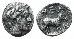obverse: Troas, Neandria (4th century a.C.). AR Obolus (8mm. - 0.32gr.). D.\: testa laurteata di Apollo a destra; R.\: / Ram stante a destra in quadrato incuso. SNG Copenhagen 446; SNG von Aulock 7628. (ex Bertolami 39E - lot 191. Stima: 90€.).
