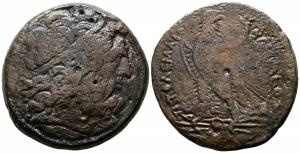 obverse: Egitto, Alessandria. Regno Tolemaico. Tolomeo III (246-221 a.C). AE Dracma (36,6 gr. – 38 mm.). D.\: Testa di Giove diademata a destra. R.\: Aquila stante a sinistra su saetta. Patina marrone. MB.