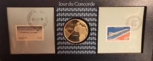 obverse: 1976. JOUR DE CONCORDE. Giorno del Concorde. MEDAGLIA & FRANCOBOLLI. Argento. Molto interessante.