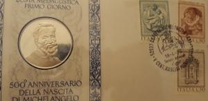 reverse: 1975 - 500° Anniversario nascita Michelangelo. Busta Medaglistica Primo Giorno
