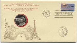obverse: 1977 - United States of America, Letter with stamp and Silver Medal Charles Lindbergh, Proof