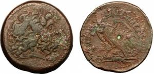 obverse: Egitto, Alessandria. Regno Tolemaico. Tolomeo IV (222-204 a.C). AE Dracma (44,71 gr. – 37,5 mm.). D.\: Testa di Giove diademata a destra. R.\: Aquila stante a sinistra su saetta. Svoronos 1148. Patina marrone. qBB. NC.