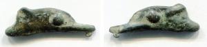 obverse: Tracia, Olbia (circa V sec. A.C.). AE 22,5 (1,15 gr.). Moneta a forma di delfino. SNG BM 360. BB+.