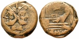 obverse: Anonymous (225-175 a.C.), Roma. AE Asse (33 mm. - 35,96 gr.). D.\: testa di Giano bifronte; R.\: ROMA - prora di galea. qBB.