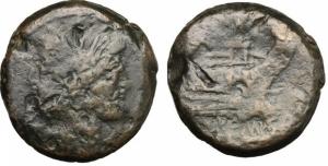 obverse: Serie Anonima Sestanziale (211 a.C.). AE Asse (33 mm. - 40,4 gr.). D.\: testa di Giano bifronte; R.\: ROMA - prora di galea. qBB. Molto spessa.