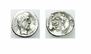 obverse: L. Titurius L.f. Sabinus (89 a.C.) Roma. AR Denarius (g 3,39gr. - 19mm.). D,\; SABIN, Testa di Tatius a destra; R.\: L TITVRI, Tarpeia tra due soldati, mezzaluna e stella a sinistra. Crawford 344/3. qBB. NC.