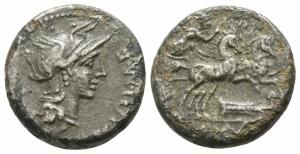 obverse: M. Cipius M.f. (115-114 a.C.). Roma. AR Denarius Fourreè (15mm. - 2.90 gr.). R.\: Biga. qBB.