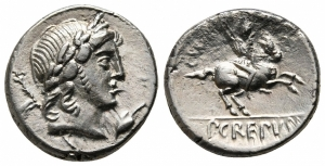 obverse: P. Crepusius (82 a.C.), Roma. AR Denarius 17 mm. - 3,98 gr.). D.\: testa laureata di Apollo a destra, scettro e I dietro, foglia di edera sotto il mento; R.\: cavaliere a destra con lancia, P•CREPV[SI] in esego. Crawford 361/1c. qSPL. NC.
