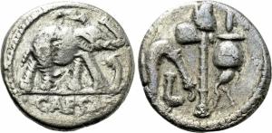obverse: JULIUS CAESAR. AR Denarius 49 a.C. (3,51 gr. – 17 mm.). Military mint traveling with Caesar. D.\: CAESAR. Elephant advancing right, trampling upon horned serpent. R.\: Emblems of the pontificate: simpulum, aspergillum, securis and apex. Crawford 443/1. qBB. R1.