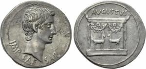 obverse: Augusto (27 a.C - 14 d.C.), Ionia Ephesus. AR Cistophorus (18,82gr. – 25mm.) D.\: IMP CAESAR, testa nuda a destra di Augusto. R.\: AVGVSTVS, Altare ornato di ghirlande, dentro due cervi rivolti verso l interno. RIC II, 482; RPC I, 2215. BB+. R1. Esemplare molto attrattivo. Affascinanti i rilievi, così come molto interessante la patina. Nome e moneta non comuni in questa conservazione.
