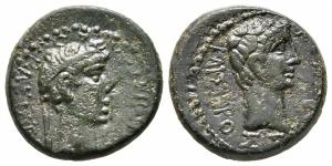 obverse: Augusto con Rhoemetalkes I (11 a.C. – 12). Tracia. AE Bronzo (19 mm. - 5,06 gr.). Profili dei due imperatori. RPC 1718. BB. NC.