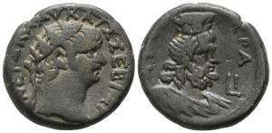 obverse: Nerone (54-68). Egitto, Alessandria. Mi Tetradramma (24mm. - 13.11gr.). D.\: Testa coronata a destra; R.\: busto di Seraphis a destra. RPC 5279. Emmett 133. qBB/BB. NC.