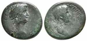 obverse: Claudio con Agrippina Minore (41-54). Lydia, Thyateira. AE Bronzo (20 mm. - 4,99 gr.). MB. R2.