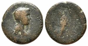 obverse: Britannicus (41-55), figlio di Claudio. Ionia, Smyrna. AE Bronzo (17mm. - 3,68gr.). D.\: ZMVP – testa lauretata e busto drappeggiato a destra; R.\: EΠI ΦIΛIΣTOV / EIKAΔIOΣ – Nike stante a destra, tiene un trofeo sopra la spalla. RPC I, 2476. BMC 283-4.