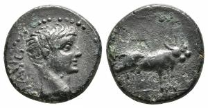 obverse: Tiberio (14-37). Macedonia. Philippi. AE Bronzo (17 mm. - 3,09 gr.). BB-MB. R1.