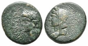 obverse: Tiberio con Livia (14-37). Macedonia, Tessalonica. AE Bronzo (20 mm. - 8,32 gr.). qBB. Raro.