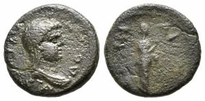 obverse: Domitia (82-96), moglie di Domiziano. Ionia, Smyrna. AE Bronzo (15 mm. - 2,53 gr.). qBB-MB. R2.