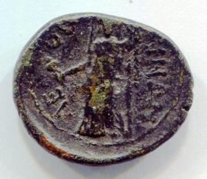 reverse: Sicilia. LEONTINOI (After 212 a.C.). AE 21/19 (g 5,7). D.\: Laureate head of Apollo, granchio dietro la testa; R.\: ?E-ON-TINON - Demeter velata, in piedi con uno scettro e papavero. CNS III p.86 N.21. MB. R1