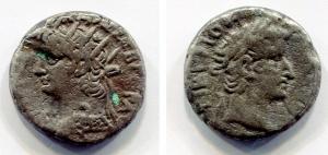 obverse: Nerone (54-68), Alessandria, Egitto. AR Tetradramma (10,49 gr.). D.\: profilo di Nerone; R.\: profilo di Tiberio. RPC I, 5295. qBB. NC.