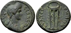 obverse: Lydia, Thyatira. Domitia (82-96), Moglie di Domiziano. AE Bronzo (2,56gr. – 16mm.). D.\: ΔOMITIA CЄBACTH.Busto drappeggiato a destra. R.\: ΘVATЄIPHNΩN. Tripode. RPC II, 945; BMC 71. BB. R2.