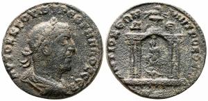 obverse: Trebonianus Gallus (251-253). Seleucis and Pieria, Antiochia. AE 29 Bronze (19.24 gr.). R.\: tempio. qBB. NC.