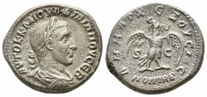 obverse: Filippo I (244-249). Syria, Antiochia . Ar Tetradramma (10,78 gr. - 26 mm.). D.\: AYTOK K M IOYΛI ΦIΛIΠΠOC CEB, radiate, draped and cuirassed bust right, seen from behind . R.\: ΔHMARX EΞOYCIAC YΠATO II, eagle standing left holding wreath, S C. Prieur 424-48. BB. NC