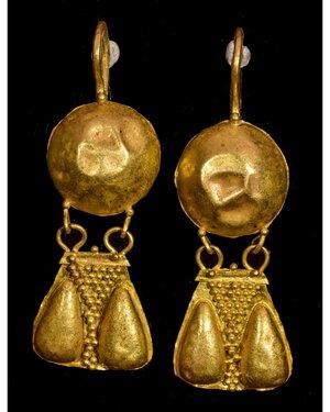 obverse: PAIR OF GREEK HELLENISTIC GOLD EARRINGS