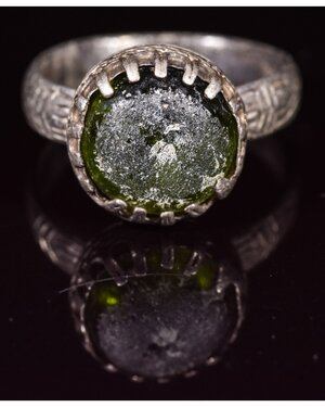 obverse: BYZANTINE SILVER RING WITH GEM