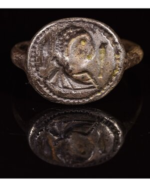 obverse: MEROVINGIAN SILVER RING WITH BUST
