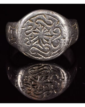 obverse: VIKING SILVER RING WITH RUNIC SYMBOLS