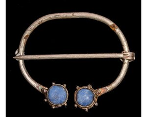 obverse: VIKING SILVER OMEGA BROOCH WITH BLUE STONES