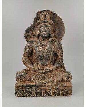obverse: GANDHARA SCHIST PANEL OF A SEATED BODHISATTVA