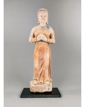obverse: RARE GANDHARA FEMALE STUCCO FIGURE