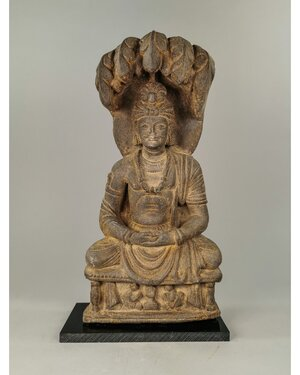 obverse: HUGE GANDHARA SCHIST SEATED BUDDHA