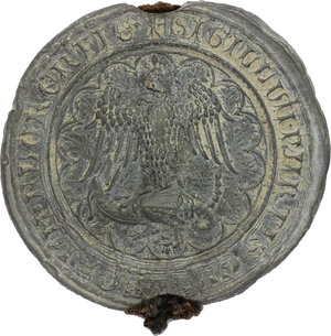 obverse: Bolla plumbea da sigillo fiorentino del XIV sec