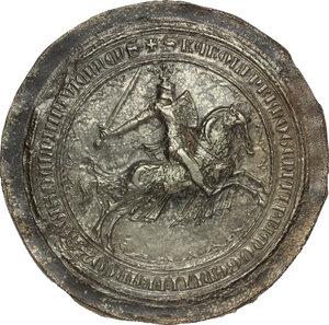 obverse: Carlo V detto il Saggio (1338-1380), re di Francia.. Calco di sigillo di Carlo V di Francia da Delfino (ante 1364), fattura ottocentesca