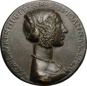obverse: Giovanna Albizzi, moglie di Lorenzo Tornabuoni. Medaglia 1486 per le nozze