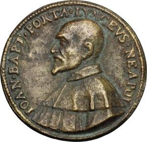 obverse: Giovanni Battista della Porta (1535-1615), filosofo e alchimista.. Medaglia celebrativa