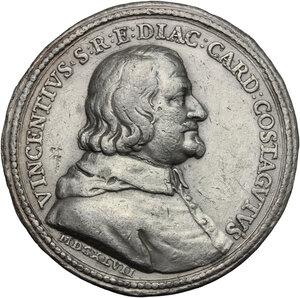 obverse: Vincenzo Costaguti (1612-1660), Cardinale.. Medaglia 1647, per la costruzione della Villa di Bell'Aspetto