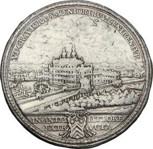 reverse: Vincenzo Costaguti (1612-1660), Cardinale.. Medaglia 1647, per la costruzione della Villa di Bell'Aspetto