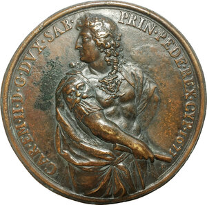 obverse: Carlo Emanuele II (1638-1675). Grande medaglia uniface, 1673