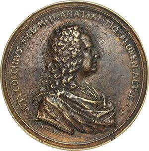 obverse: Antonio Cocchi (1695-1758), medico, filosofo e letterato.. Medaglia 1745 con bordo modanato