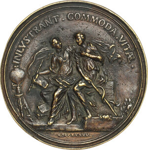 reverse: Antonio Cocchi (1695-1758), medico, filosofo e letterato.. Medaglia 1745 con bordo modanato