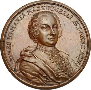 obverse: Giovanni Maria Mazzuchelli (1707-1765),  letterato, bibliografo, storico e matematico.. Medaglia 1752